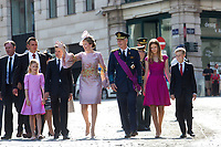 King Philippe & Queen Mathilde of Belgium & their children attend the Te Deum mass on National Day