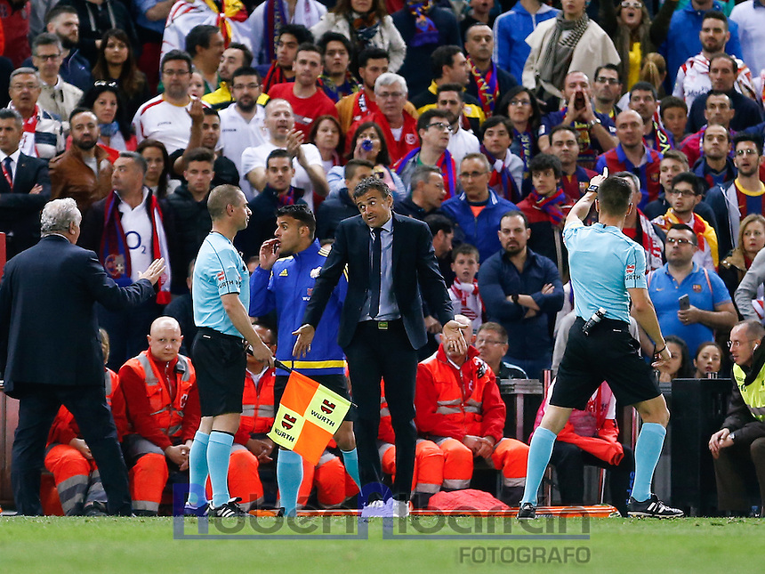 FC Bacelona´s coach Luis Enrique during the Final of Copa del Rey match between FC Barcelona and SevillaFC at the Vicente Calderon Stadium in Madrid, Sunday, May 22, 2016.