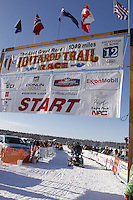 Sunday, March 4, 2012  The official start line at the restart of Iditarod 2012 in Willow, Alaska.