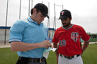 21 May 2009: Jamel Boutagra of Toulouse talks to the home plate umpire during the 2009 challenge de France, a tournament with the best French baseball teams - all eight elite league clubs - to determine a spot in the European Cup next year, at Montpellier, France.