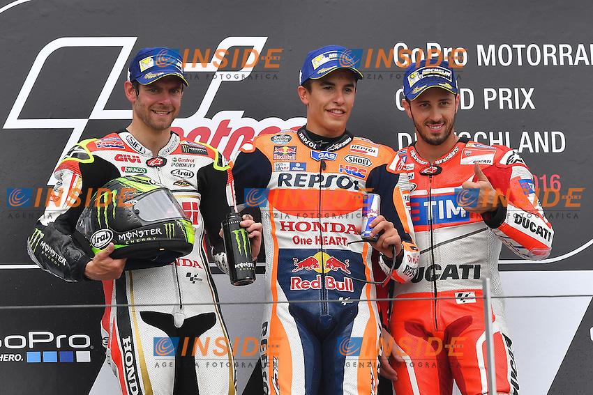 Sachsenring (Germania) 17-07-2015 - Moto GP / foto Luca Gambuti/Image Sport/Insidefoto<br /> nella foto: Marc Marquez-Cal Crutchlow-Andrea Dovizioso