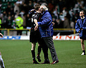 26/11/2005         Copyright Pic : James Stewart.File Name : sct_jspa11 celtic v dunfermline.DUNFERMLINE MANAGER JIM LEISHMAN CELEBRATES WITH GOAL SCORER GREG ROSS AT THE END OF THE GAME........Payments to :.James Stewart Photo Agency 19 Carronlea Drive, Falkirk. FK2 8DN      Vat Reg No. 607 6932 25.Office     : +44 (0)1324 570906     .Mobile   : +44 (0)7721 416997.Fax         : +44 (0)1324 570906.E-mail  :  jim@jspa.co.uk.If you require further information then contact Jim Stewart on any of the numbers above.........