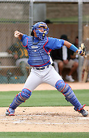 Yaniel Cabezas of the Chicago Cubs plays in an extended spring training game against the Oakland Athletics at the Athletics minor league complex on May 18, 2011  in Phoenix, Arizona. .Photo by:  Bill Mitchell/Four Seam Images.