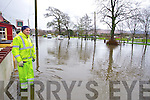 Tralee Town Council Worker James Daly at the flooding at Ballymullen, Tralee on Tuesday.