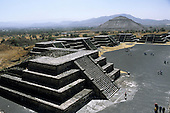 Teotihuacan, Mexico. The Plaza of the Sun and the Moon; pre-Aztec pyramid temples.