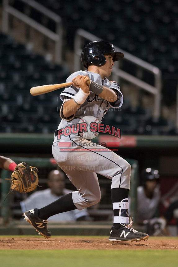 AZL White Sox catcher Ty Greene (26) follows through on his swing during an Arizona League game against the AZL Indians 1 at Goodyear Ballpark on June 20, 2018 in Goodyear, Arizona. AZL Indians 1 defeated AZL White Sox 8-7. (Zachary Lucy/Four Seam Images)