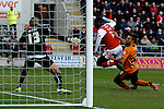 Rotherham United v Wolverhampton Wanderers, 21.12.13<br /> Sky Bet League One<br /> Picture Shaun Flannery/Trevor Smith Photography<br /> Nouha Dicko beats Wolves goalkeeper Carl Ikeme to score Rotherham's first goal.