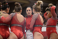 Arkansas coach Jordyn Wieber directs her gymnasts Friday, Feb. 7, 2020, during the Razorbacks' meet with Georgia in Barnhill Arena in Fayetteville. Visit  nwaonline.com/gymbacks/ for a gallery from the meet.<br /> (NWA Democrat-Gazette/Andy Shupe)