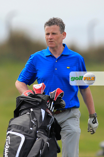 Greg Allen (RTE) on the 2nd fairway during the Flogas Irish Amateur Open Championship Am-Am at Royal Dublin on Monday 9th May 2016.<br /> Picture:  Thos Caffrey / www.golffile.ie