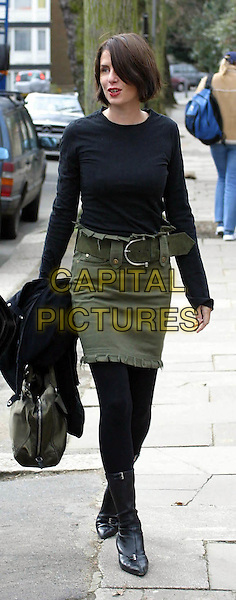 "SADIE FROST .leaving her London home to go to Elstree Film Studios where she begins work producing ""World Of Tomorrow"" in which her husband Jude Law stars..www.capitalpictures.com.©Capital Pictures.khaki green skirt"