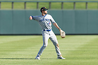 Surprise Saguaros left fielder Cavan Biggio (26), of the Toronto Blue Jays organization, throws to the infield during an Arizona Fall League game against the Salt River Rafters at Salt River Fields at Talking Stick on October 23, 2018 in Scottsdale, Arizona. Salt River defeated Surprise 7-5 . (Zachary Lucy/Four Seam Images)