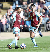 Burnley's Aaron Lennon (left) and Matthew Lowton<br /> <br /> Photographer Rich Linley/CameraSport<br /> <br /> The Premier League - Burnley v Leicester City - Saturday 14th April 2018 - Turf Moor - Burnley<br /> <br /> World Copyright &copy; 2018 CameraSport. All rights reserved. 43 Linden Ave. Countesthorpe. Leicester. England. LE8 5PG - Tel: +44 (0) 116 277 4147 - admin@camerasport.com - www.camerasport.com