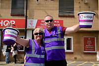 Linkage representatives who were collecting for the charity outside the ground<br /> <br /> Photographer Chris Vaughan/CameraSport<br /> <br /> The EFL Sky Bet League Two - Lincoln City v Tranmere Rovers - Monday 22nd April 2019 - Sincil Bank - Lincoln<br /> <br /> World Copyright © 2019 CameraSport. All rights reserved. 43 Linden Ave. Countesthorpe. Leicester. England. LE8 5PG - Tel: +44 (0) 116 277 4147 - admin@camerasport.com - www.camerasport.com