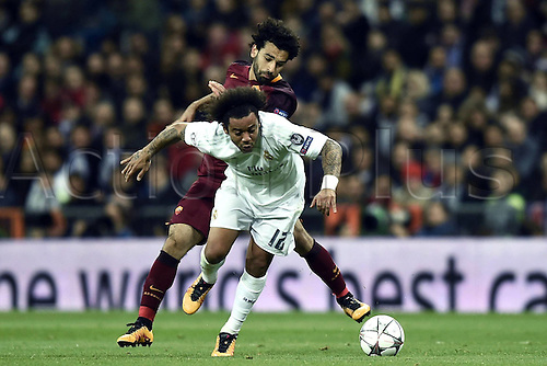 08.03.2016 Estadio Santiago Bernabeu, Madrid, Spain. UEFA Champions League Real Madrid CF versus AS Roma. Last 16 second leg match in Madrid.  Marcelo gets away from the challenge from Mohamed Salah