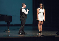Lencia Kebede '16, Noah Winnick '16 and Audrey Yim '17 perform. Occidental College students perform and compete during Apollo Night, one of Oxy's biggest talent showcases, on Friday, Feb. 26, 2016 in Thorne Hall. Sponsored by ASOC, hosted by the Black Student Alliance as part of Black History Month.<br /> (Photo by Marc Campos, Occidental College Photographer)