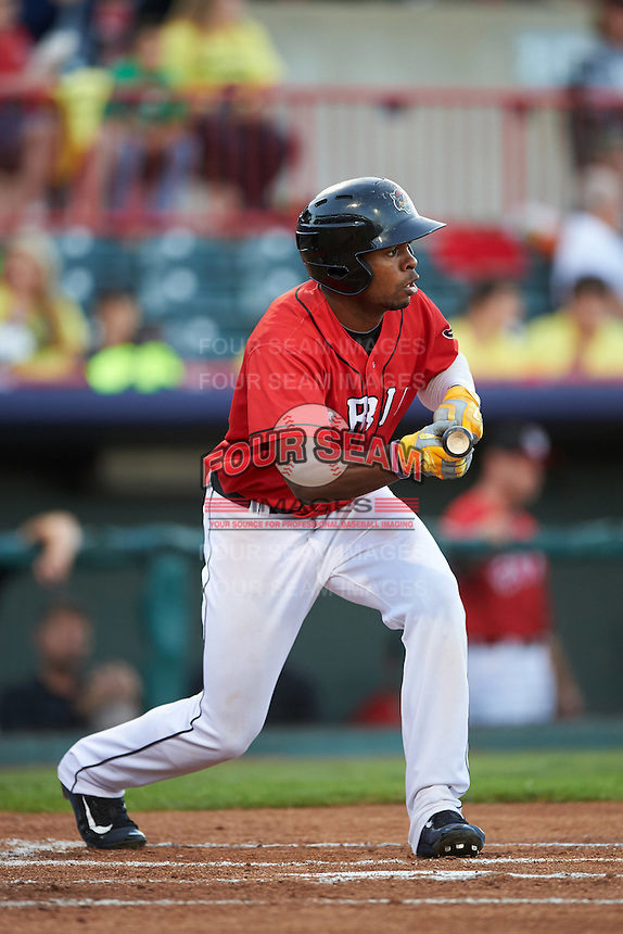 Erie SeaWolves center fielder Wynton Bernard (36) squares to bunt during a game against the Richmond Flying Squirrels on August 22, 2016 at Jerry Uht Park in Erie, Pennsylvania.  Erie defeated Richmond 4-2.  (Mike Janes/Four Seam Images)