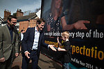 © Joel Goodman - 07973 332324 . 01/05/2015 . Manchester , UK . NICK CLEGG (c) asks a boy to give him a five , after speaking at a Liberal Democrat party rally at Chorlton-cum-Hardy Golf Club . Liberal Democrat party leader Nick Clegg visits the constituency of Manchester Withington to deliver a speech on the NHS and campaign with local candidate John Leech . Photo credit : Joel Goodman