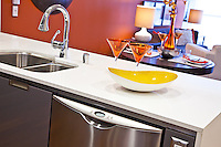 White Kitchen Countertop and Stainless Steel appliances