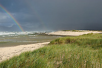 Rainbow on Ocean by cloudy day, Hermanus, South Western Cape, South Africa
