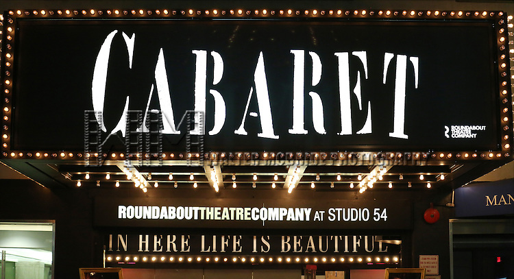 Theatre Marquee for the the Broadway Opening Night Performance of 'Cabaret' at Studio 54 on April 24, 2014 in New York City.