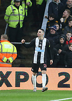 Newcastle United's Miguel Almiron celebrates scoring the opening goal in the 7th minute<br /> Photographer Lee Parker/CameraSport<br /> <br /> The Premier League - Wolverhampton Wanderers v Newcastle United - Saturday 11th January 2020 - Molineux - Wolverhampton<br /> <br /> World Copyright © 2020 CameraSport. All rights reserved. 43 Linden Ave. Countesthorpe. Leicester. England. LE8 5PG - Tel: +44 (0) 116 277 4147 - admin@camerasport.com - www.camerasport.com