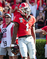 ATHENS, GA - SEPTEMBER 7: George Pickens #1 celebrates a touchdown during a game between Murray State Racers and University of Georgia Bulldogs at Sanford Stadium on September 7, 2019 in Athens, Georgia.