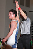 Thomas Dutton of Rocky Point raises his arm after decisioning Hunter Hulse of Westhampton at 145 pounds in the Suffolk County varsity wrestling Division I semifinals at Hofstra University on Sunday, February 15, 2015.<br /> <br /> James Escher