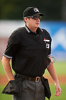Umpire Ryan Wilhelms during a game between the Vermont Lake Monsters and Batavia Muckdogs August 9, 2015 at Dwyer Stadium in Batavia, New York.  Vermont defeated Batavia 11-5.  (Mike Janes/Four Seam Images)