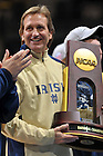 Dec. 5, 2010;  Former Women's Soccer head coach Randy Waldrum holds the 2010 National Championship trophy during a welcome home rally at the Purcell Pavilion.  ..Photo by Matt Cashore/University of Notre Dame