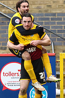 John-Joe O'Toole of Northampton Town (21) celebrates scoring his team's second goal to make it 2-2 during the Sky Bet League 2 match between Stevenage and Northampton Town at the Lamex Stadium, Stevenage, England on 19 March 2016. Photo by David Horn / PRiME Media Images.