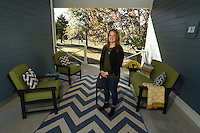 NWA Democrat-Gazette/MICHAEL WOODS &bull; @NWAMICHAELW<br /> Melanie Garner in her favorite space  Wednesday, November 19, 2016 in her breezeway at her Fayetteville home.