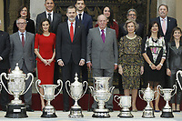 MADRID, SPAIN-January 10: Princess Pilar de Borbon, Queen Letizia of Spain, King Felipe VI of Spain, King Juan Carlos of Spain, Queen Sofia of Spain and Princess Elena de Borbon attend National Sport Awards 2017 at El Pardo Royal Palace on January 10, 2019 in Madrid, Spain January10, 2019.  ***NO SPAIN***<br /> CAP/MPI/RJO<br /> &copy;RJO/MPI/Capital Pictures