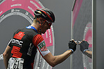 Rohan Dennis (AUS) BMC Racing Team at sign on before the start of Stage 21 of the 2018 Giro d'Italia, running 115km around the centre of Rome, Italy. 27th May 2018.<br /> Picture: LaPresse/Marco Alpozzi | Cyclefile<br /> <br /> <br /> All photos usage must carry mandatory copyright credit (&copy; Cyclefile | LaPresse/Marco Alpozzi)