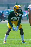 Green Bay Packers cornerback Josh Hawkins (28) during a training camp practice on August 7, 2017 at Ray Nitschke Field in Green Bay, Wisconsin.  (Brad Krause/Krause Sports Photography)