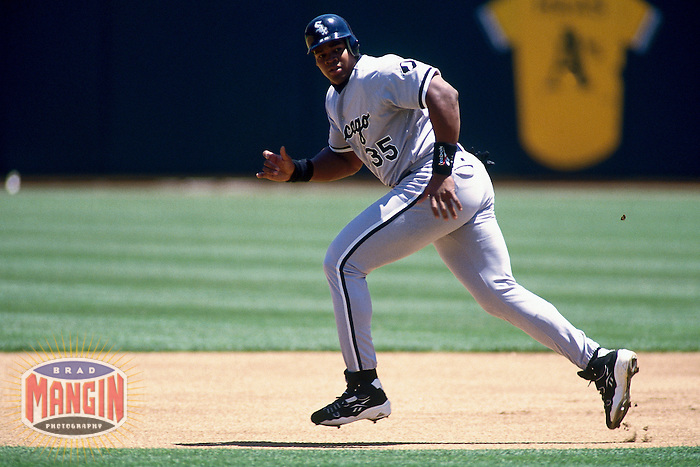 OAKLAND, CA - Frank Thomas of the Chicago White Sox in action during a game against the Oakland Athletics at the Oakland Coliseum in Oakland, California in 1997. Photo by Brad Mangin