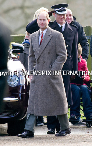 """PRINCE EDWARD ATTENDS CHURCH SERVICE.The Queen, Prince Philip and  Prince Edward, Sophie, Countess of Wessex attended Sunday Mass at St. Mary Magdalene's on the Sandringham Estate_30/12/2012.Kate and Prince William hio reported to be at Sandringham did not attend..©NEWSPIX INTERNATIONAL..Mandatory credit photo:NEWSPIX INTERNATIONAL(Failure to credit will incur a surcharge of 100% of reproduction fees)..**ALL FEES PAYABLE TO: """"NEWSPIX  INTERNATIONAL""""**..Newspix International, 31 Chinnery Hill, Bishop's Stortford, ENGLAND CM23 3PS.Tel:+441279 324672.Fax: +441279656877.Mobile:  07775681153.e-mail: info@newspixinternational.co.uk"""