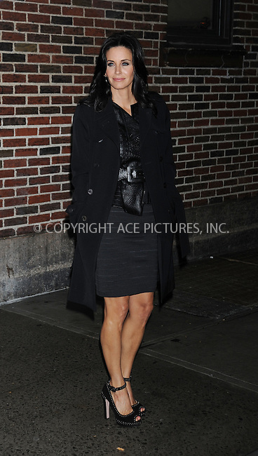 WWW.ACEPIXS.COM . . . . .  ....October 27 2009, New York City....Actress Courteney Cox made an appearance at the 'Late Show with David Letterman' on October 27 2009 in New York City....Please byline: AJ Sokalner - ACEPIXS.COM..... *** ***..Ace Pictures, Inc:  ..tel: (212) 243 8787..e-mail: info@acepixs.com..web: http://www.acepixs.com