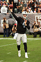 21 December 2014: Oakland Raiders Quarterback Derek Carr (4) during a 26-24 victory over the Buffalo Bills at the O.co Coliseum in Oakland, Ca.