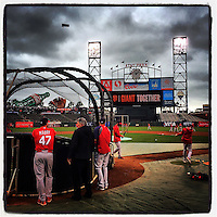 SAN FRANCISCO, CA - OCTOBER 14: Instagram of the St. Louis Cardinals taking batting practice before Game 3 of the NLCS between the St. Louis Cardinals and San Francisco Giants at AT&T Park on October 14, 2014 in San Francisco, California. Photo by Brad Mangin
