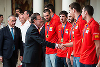 The reception of Prime Minister Mariano Rajoy to Spain national basketball team gold at EuroBasket 2015 at Moncloa Palace in Madrid, 21 September, 2015.<br /> Prime Minister Mariano Rajoy and Victor Claver.<br /> (ALTERPHOTOS/BorjaB.Hojas) /NortePhoto.com