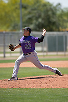 Colorado Rockies relief pitcher Reagan Biechler (95) delivers a pitch to the plate during an Extended Spring Training game against the Chicago Cubs at Sloan Park on April 17, 2018 in Mesa, Arizona. (Zachary Lucy/Four Seam Images)