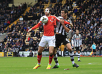 Dany Hylton of Luton Town controls the ball on his chest during the Sky Bet League 2 match between Notts County and Luton Town at Meadow Lane, Nottingham, England on 29 October 2016. Photo by Liam Smith / PRiME Media