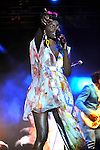 ..Noisettes  performs on stage  at the big feastival  held at Alex James' farm near Kingham, Oxfordshire 01/09/2012