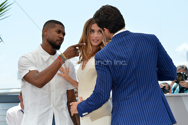 Usher Raymond IV, Ana de Armas and Edgar Ramirez at the Photocall 'Hands of Stone' - 69th Cannes Film Festival on May 16, 2016 in Cannes, France.<br /> CAP/LAF<br /> &copy;Lafitte/Capital Pictures /MediaPunch ***NORTH AND SOUTH AMERICA ONLY***