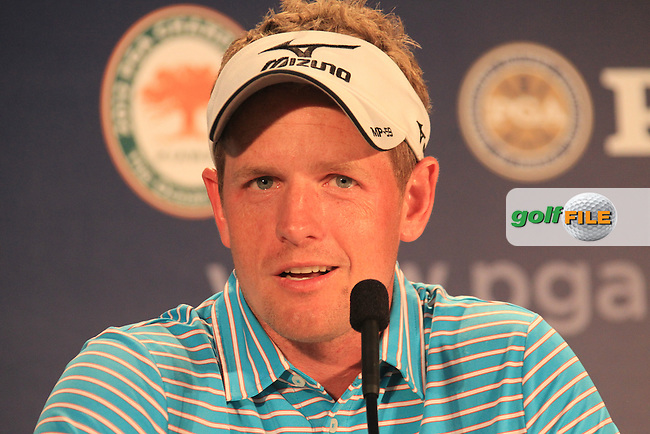 Luke Donald (ENG) in the interview room during Tuesday's practice day of the 2012 PGA Golf Championshipl at The Ocean Course, Kiawah Island, South Carolina, USA 7th August 2012 (Photo Eoin Clarke/www.golffile.ie)