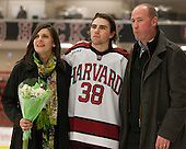 Loretta Morrison, Conor Morrison (Harvard - 38), Dave Morrison - The Class of 2013 was celebrated following the final Harvard Crimson home game of the season on Saturday, March 2, 2013, at Bright Hockey Center in Cambridge, Massachusetts.
