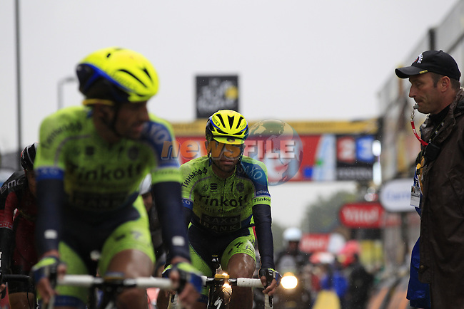 Alberto Contador (ESP) Tinkoff-Saxo crosses the finish line in Arenberg at the end of a grueling Stage 5 of the 2014 Tour de France running 155.5km from Ypres to Arenberg. 9th July 2014.<br /> Picture: Eoin Clarke www.newsfile.ie