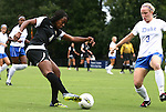 18 September 2011: Florida State's Jamia Fields (4) and Duke's Libby Jandl (3). The Duke University Blue Devils defeated the Florida State University Seminoles 2-1 at Koskinen Stadium in Durham, North Carolina in an NCAA Division I Women's Soccer game.