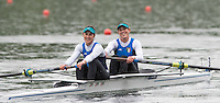 Lucerne, SWITZERLAND<br /> <br /> ITA W2-, Bow Alessandra PATELLI and Sara BERTOLASI. 2016 European Olympic Qualifying Regatta, Lake Rotsee.<br /> <br /> Monday  23/05/2016<br /> <br /> [Mandatory Credit; Peter SPURRIER/Intersport-images]