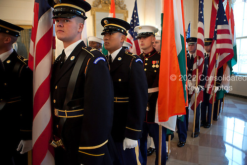 Washington, DC - November 24, 2009 -- Members of the Honor Guard line up in the Grand Foyer of the White House before the State Arrival ceremony for Prime Minister Manmohan Singh of India and his wife, Mrs. Gursharan Kaur, in the East Room of the White House, Nov. 24, 2009. .Mandatory Credit: Lawrence Jackson - White House via CNP